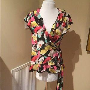 Nanette Lepore Silk Floral Wrap Blouse